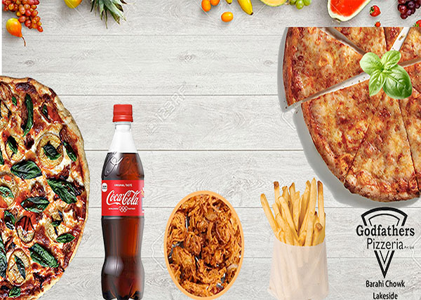 online order Pizza + chi. Tandoori Qtr.+Veg Pakauda +Chi. MO:MO+ French Fries +500ml Coke