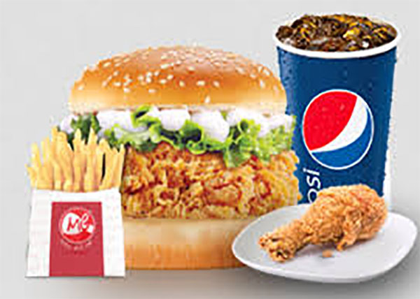 online order Chicken Chilli Momo + Chicken Burger+Chicken Chowmine + French Fries + Coke
